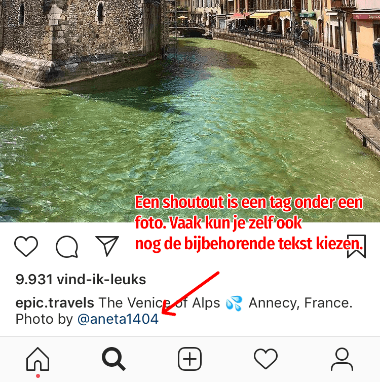 Instagram shoutout in de vorm van credits voor de foto.