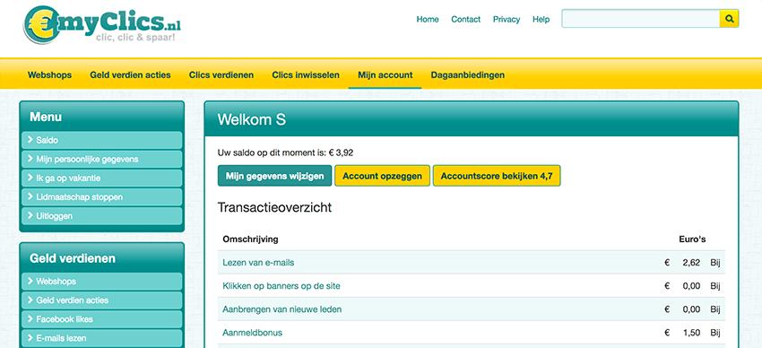 MyClics screenshot: Een van de 3 beste Nederlandse spaarprogramma's