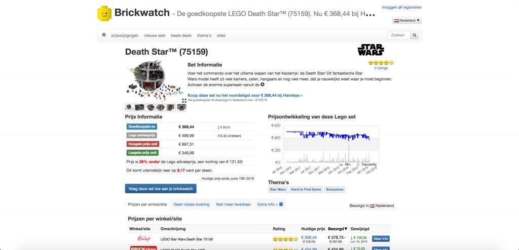 Brickwatch website voor goedkoopste LEGO prijzen
