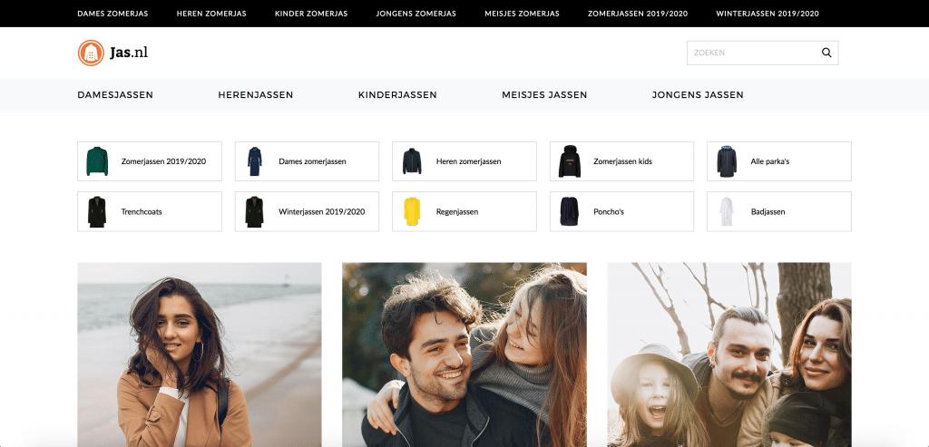 Jas.nl is een super voorbeeld van een succesvolle affiliate website