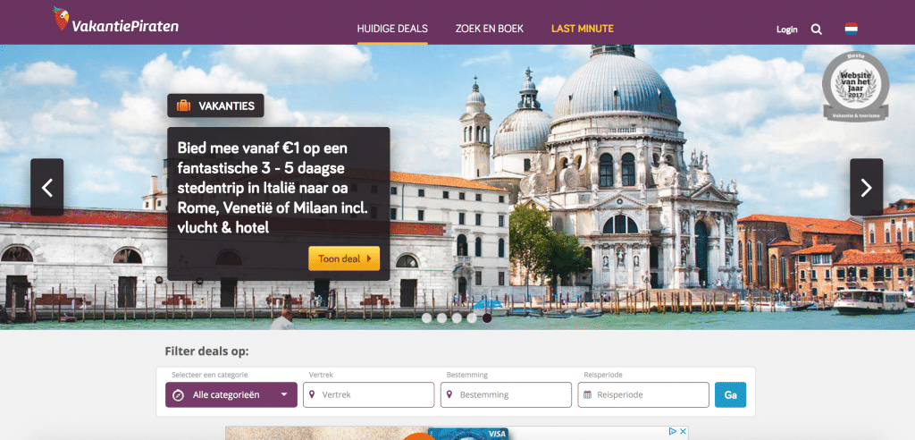 De VakantiePiraten website