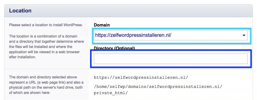 Kies op welke domeinnaam je WordPress wilt installeren