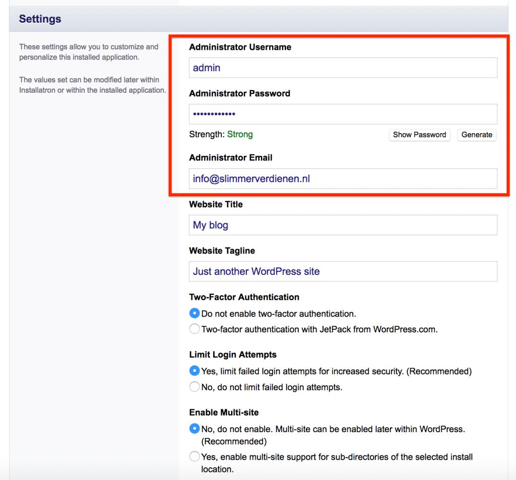 Admin gebruiker aanmaken en basis website instellingen