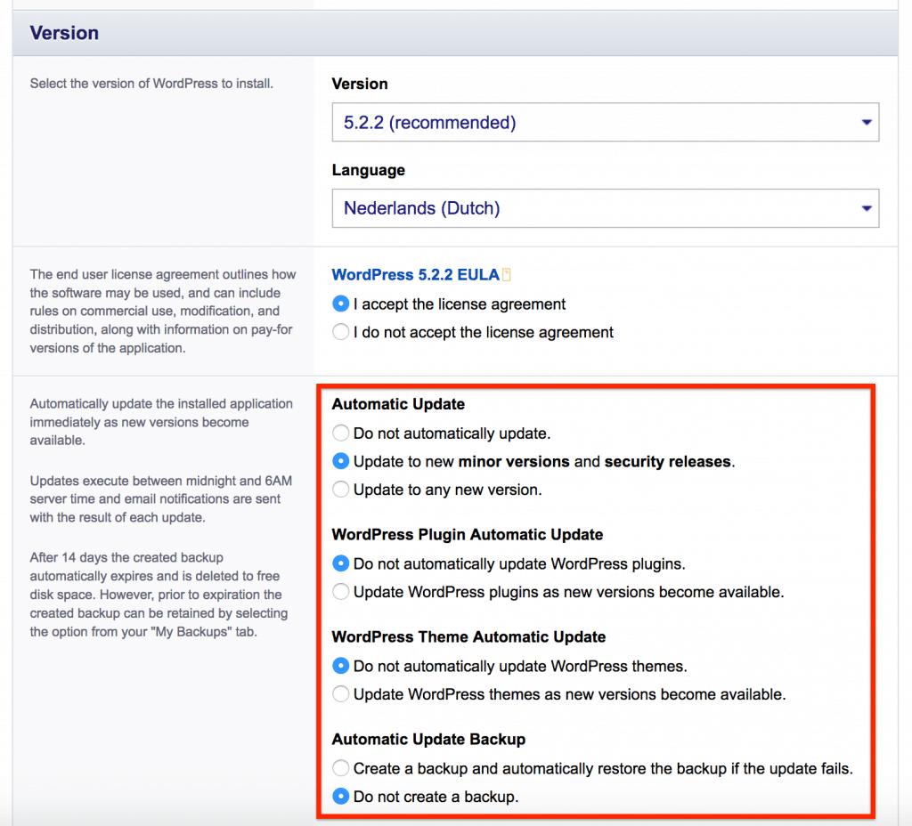 In dit onderdeel kun je onder andere de WordPress versie, taal en enkele technische instellingen selecteren.