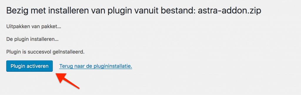 De plugin activeren na het installeren