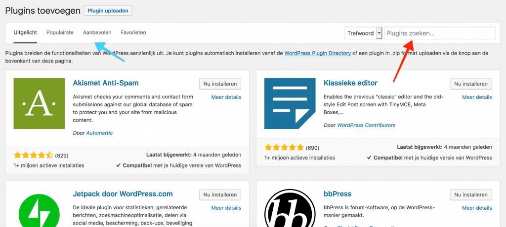 WordPress plugins zoeken via de bibliotheek