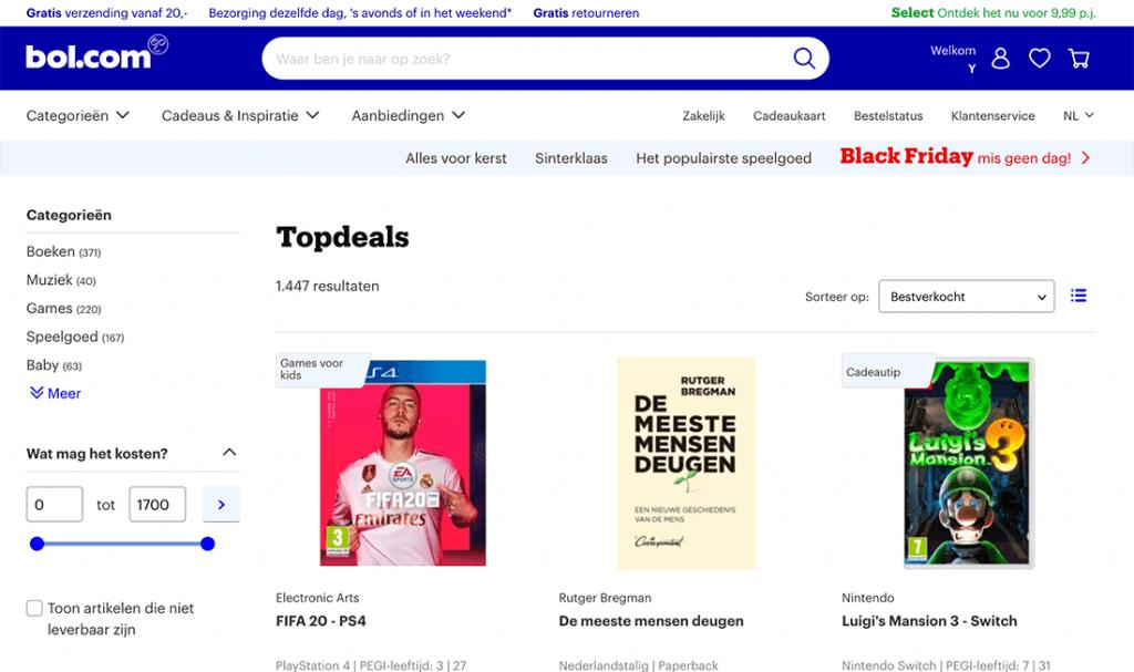 Webshops zoals Bol.com kun je ideaal promoten