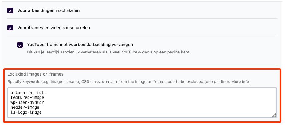 Met WP Rocket kun je afbeeldingen makkelijk uitsluiten van lazy load. Zo voorkom je dat je layout gaat verschuiven tijdens het laden van je website.