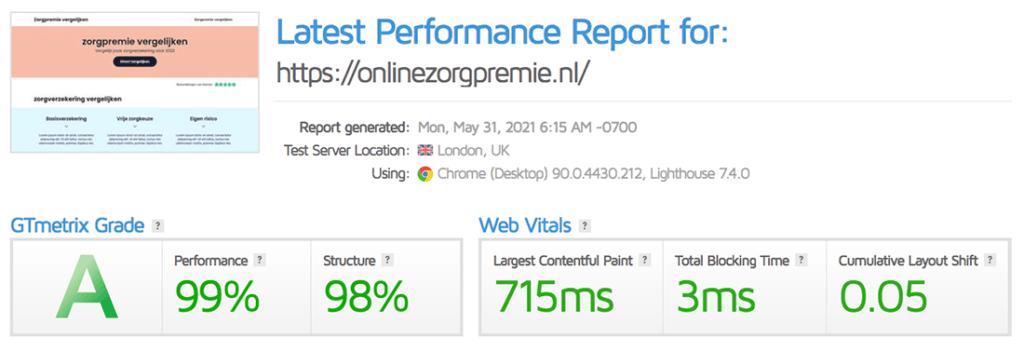 De snelheid van dezelfde WordPress website mét WP Rocket actief
